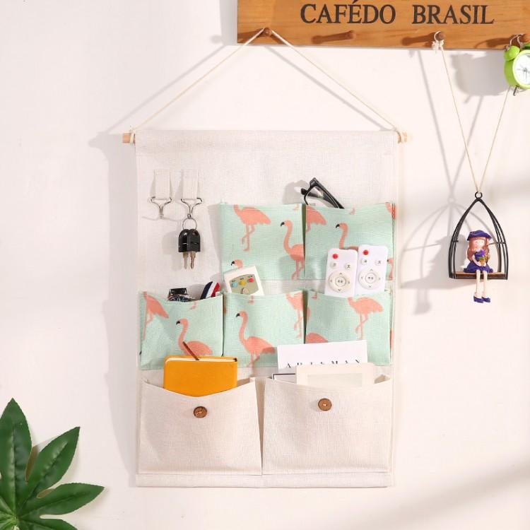 墙上收纳袋挂袋布艺墙挂式手机杂物置物门后壁挂床头悬挂储物挂兜