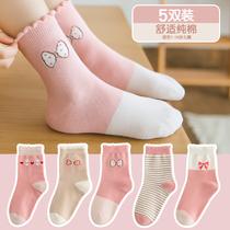兒童襪子純棉春秋款男童女童中筒襪小女孩卡通寶寶襪秋冬季中大童