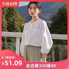 复古文艺白色七分袖衬衫女设计感小众夏季新款2020年上衣学生宽松