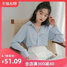 2020新款V领雪纺衬衫少女设计感小众春秋长袖上衣学生学院风气质