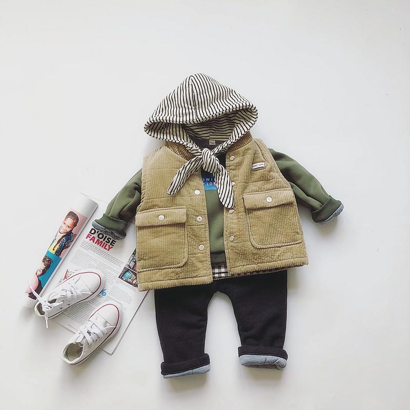 男女宝宝中小童连帽卫衣加厚棉裤夹