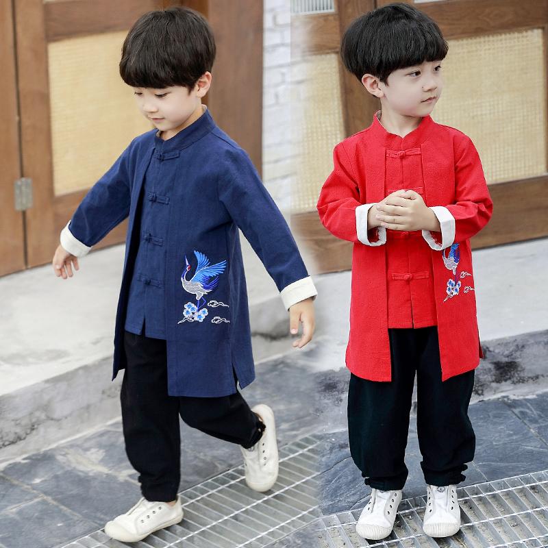 小男孩子秋季中国风刺绣仙鹤汉服两件套童装男童秋款传统改良唐装券后58.88元