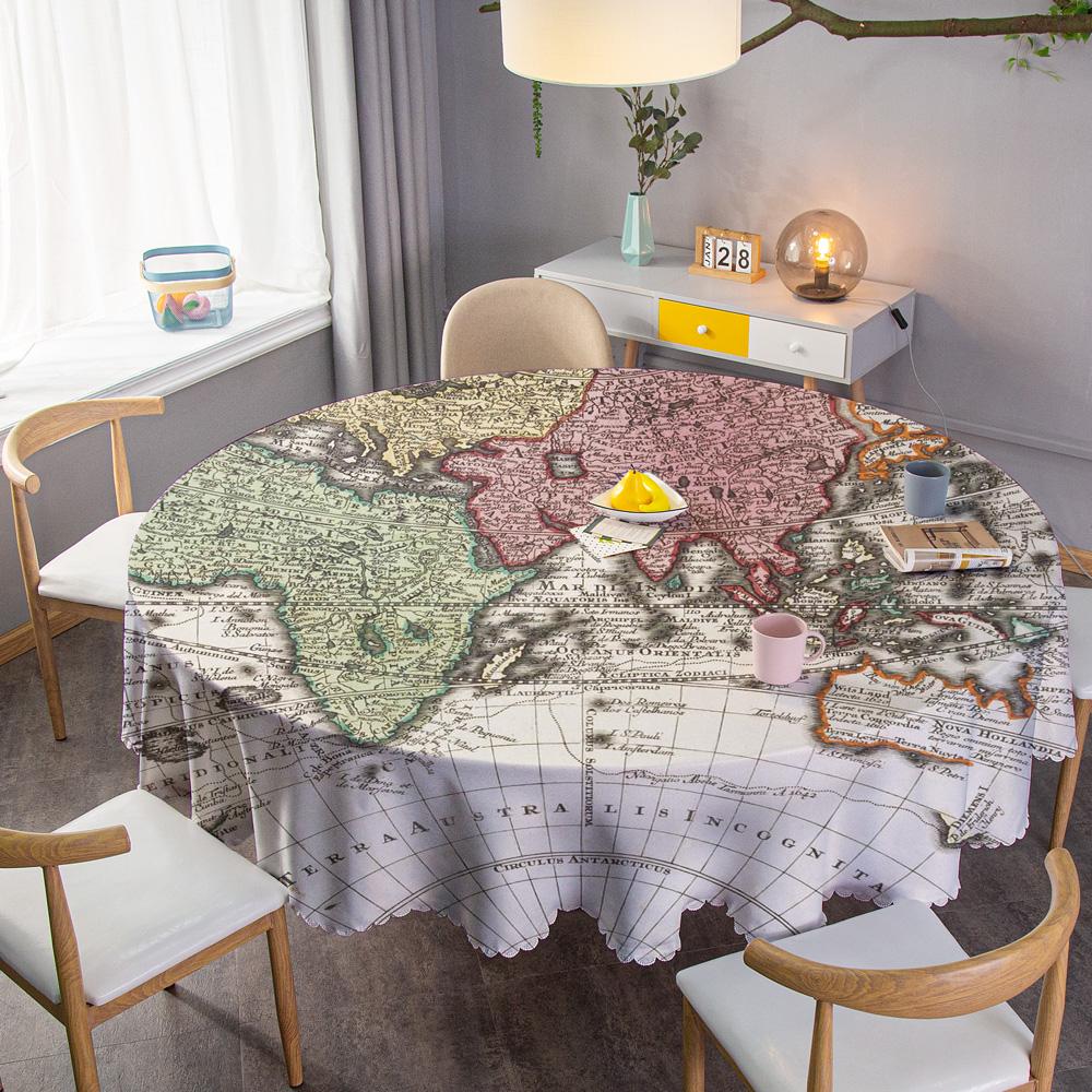 定制大尺寸酒店圆桌布创意地图防水家用餐桌布休闲咖啡厅小圆台布