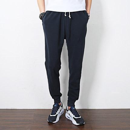 运动裤男长裤夏季薄款男士收口束脚休闲裤宽松大码纯棉小脚男卫裤