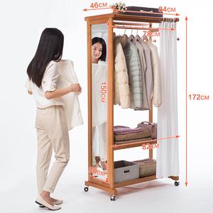 穿衣化妆镜全身落地多功能挂衣实木衣帽架试衣带镜可移动置物衣架