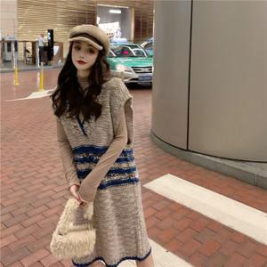實拍 韓版中長款網紅短袖套頭女毛衣裙子寬松顯瘦針織連衣裙