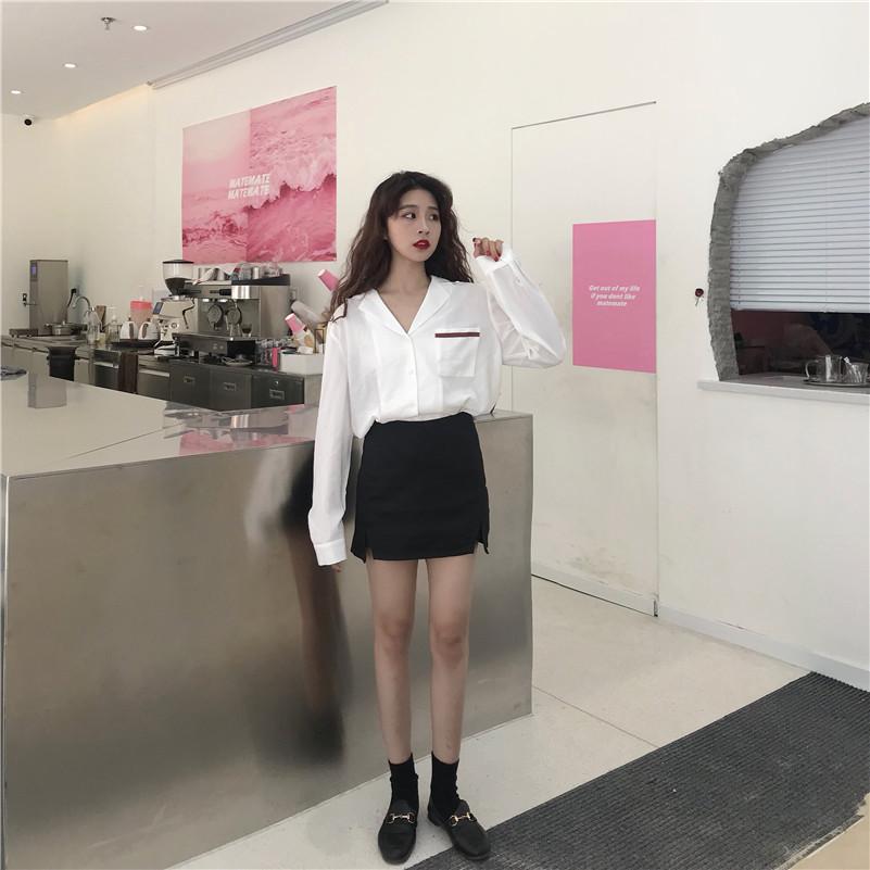 实拍 韩版小清新长袖防晒薄款雪纺衬衫上衣学生打底衫