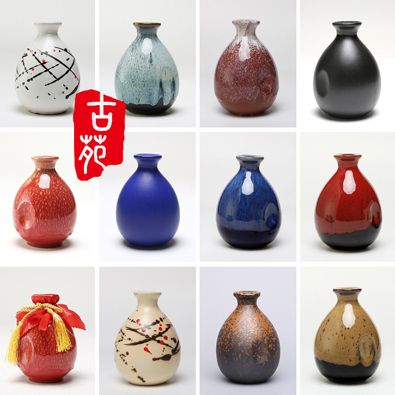 Combination of empty wine bottles, package and mail, one kilo for six Yixing ceramic wine jars, small Japanese wine jars for liquor, earthenware and household use