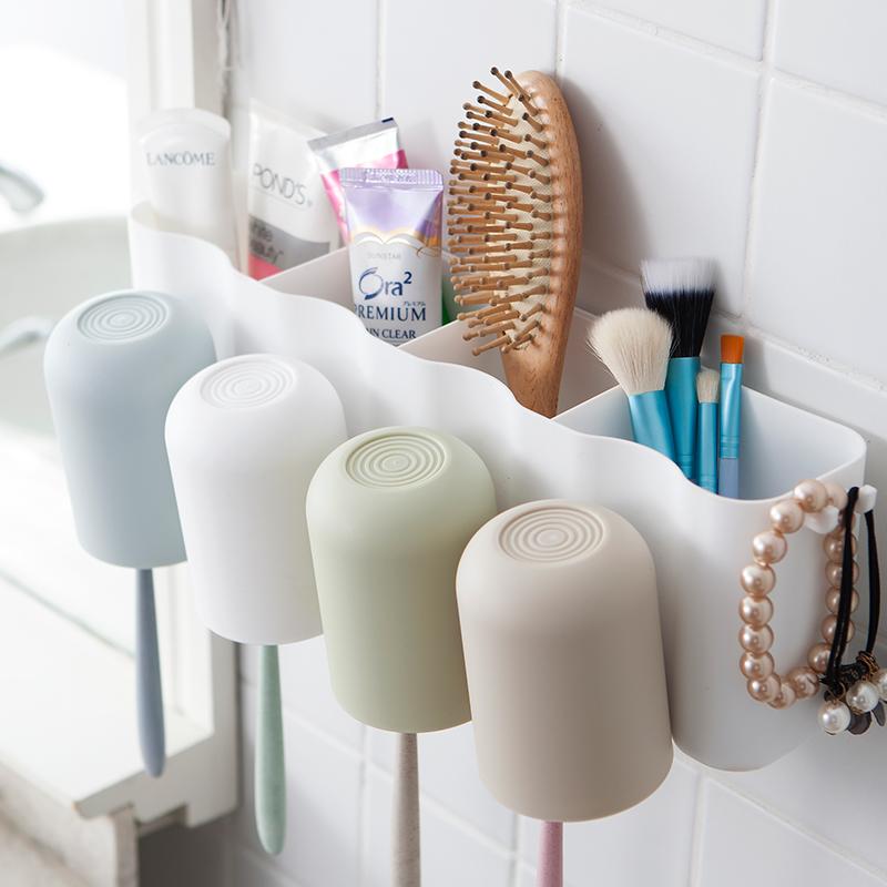 (用13.2元券)吸壁式牙刷架吸盘刷牙杯壁挂置物架