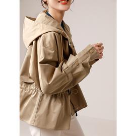风衣女短款小个子穿的风衣2020春秋新款减龄连帽收腰显瘦风衣外套