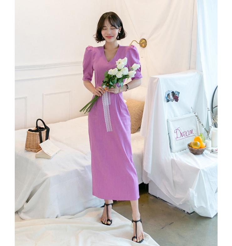 韩国ins 质感女人味耸肩泡泡袖V领 紫色收腰简约后开叉中长连衣裙