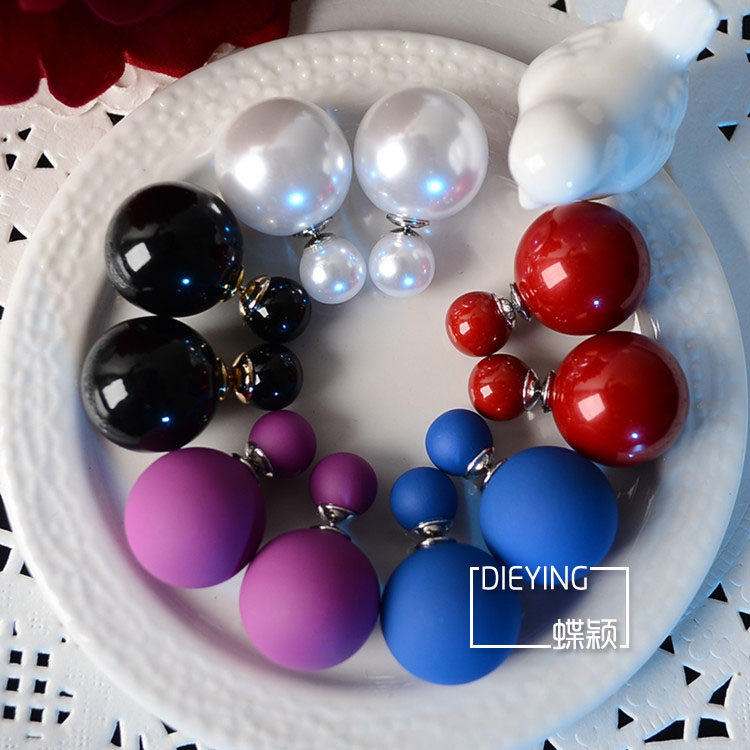 S925 Sterling Silver Size double-sided Pearl Earrings Red White Black Pearl Earrings front and rear Pearl Earrings net red