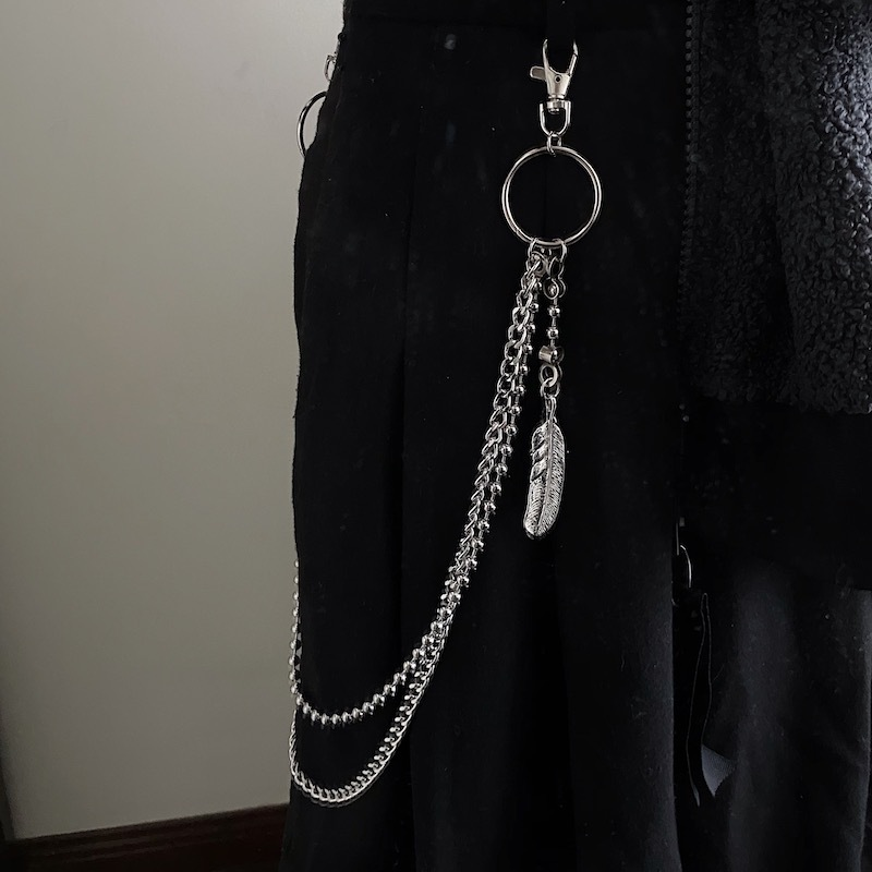 Soulr feather leaf Eagle Claw Pendant personality punk double metal ins super fire tide brand titanium steel ball chain pants chain