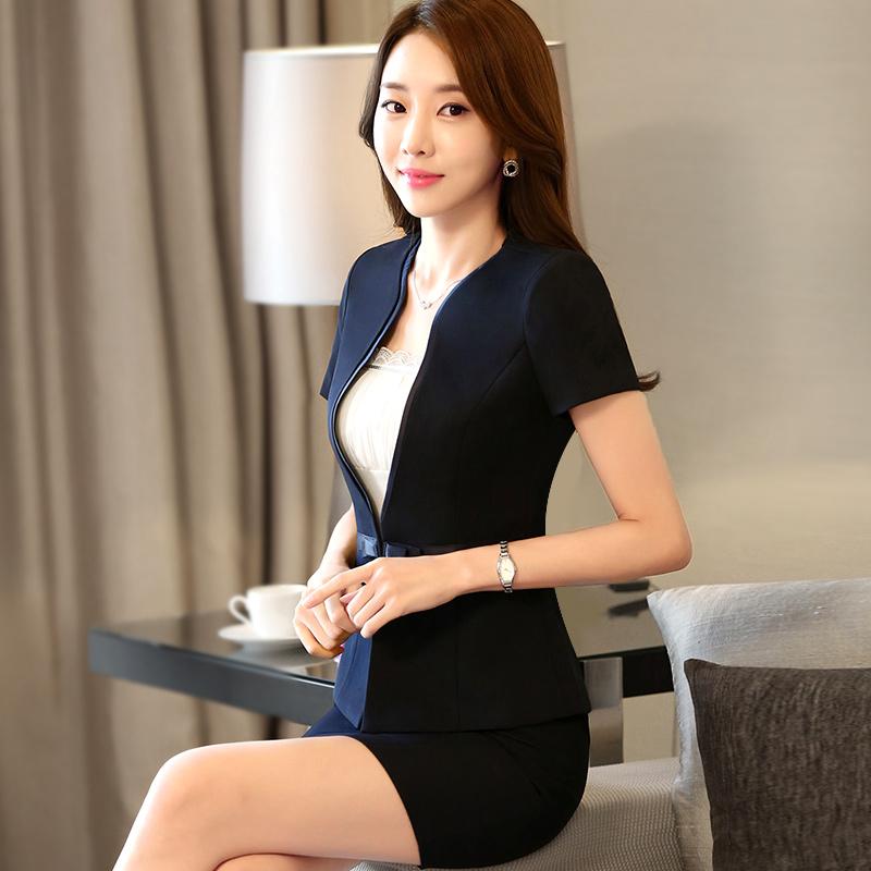 韩版夏季职业装女装套装短袖套裙显瘦修身西装女士正装酒店工作服
