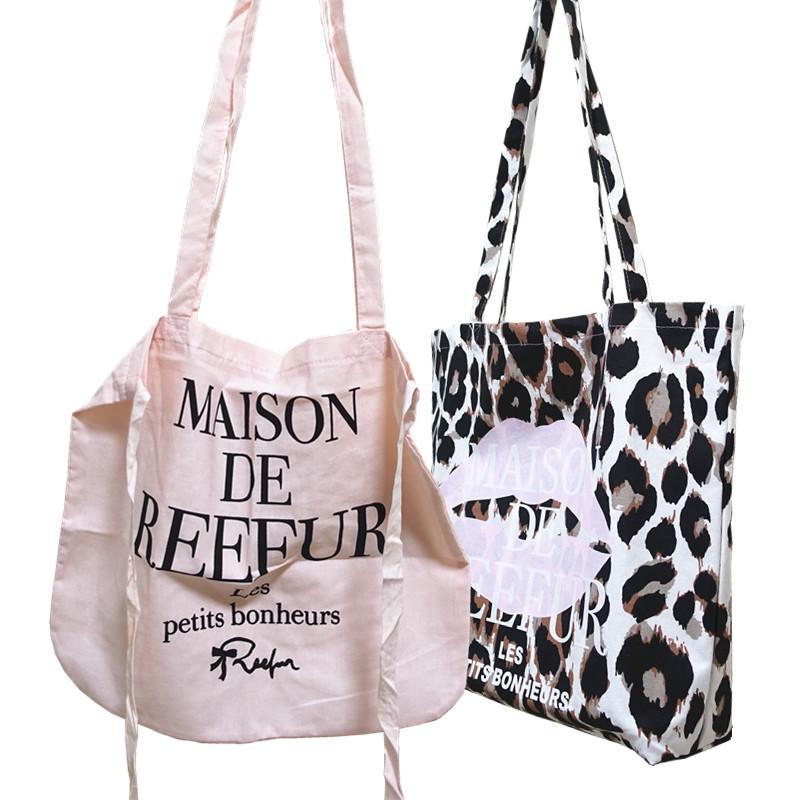日本梨花豹纹纯棉环保单肩布包时尚休闲收纳袋妈妈包量大议价包邮