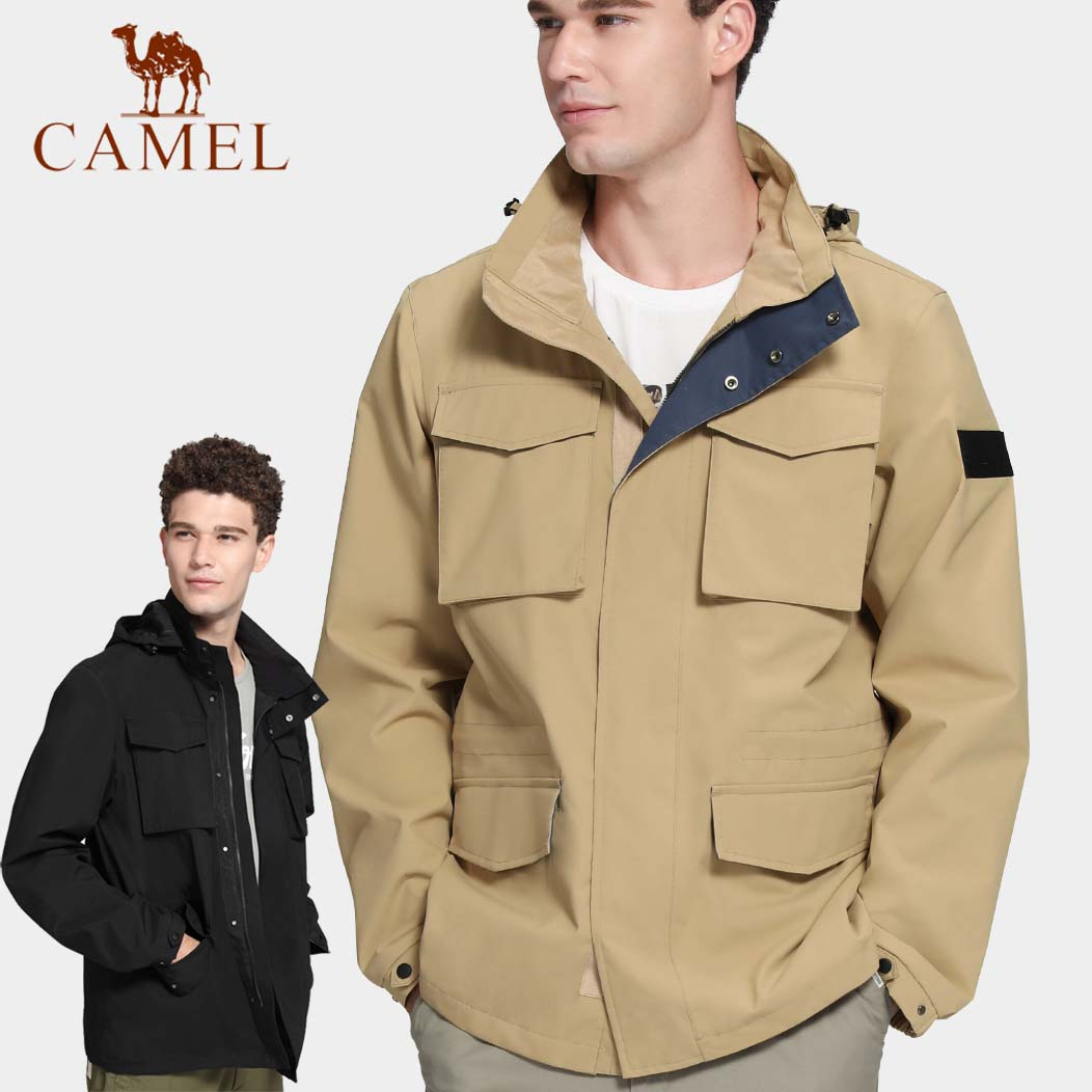 Camel stormsuit mens fashion brand spring and autumn thin single layer waterproof windbreaker outdoor sports mountaineering jacket