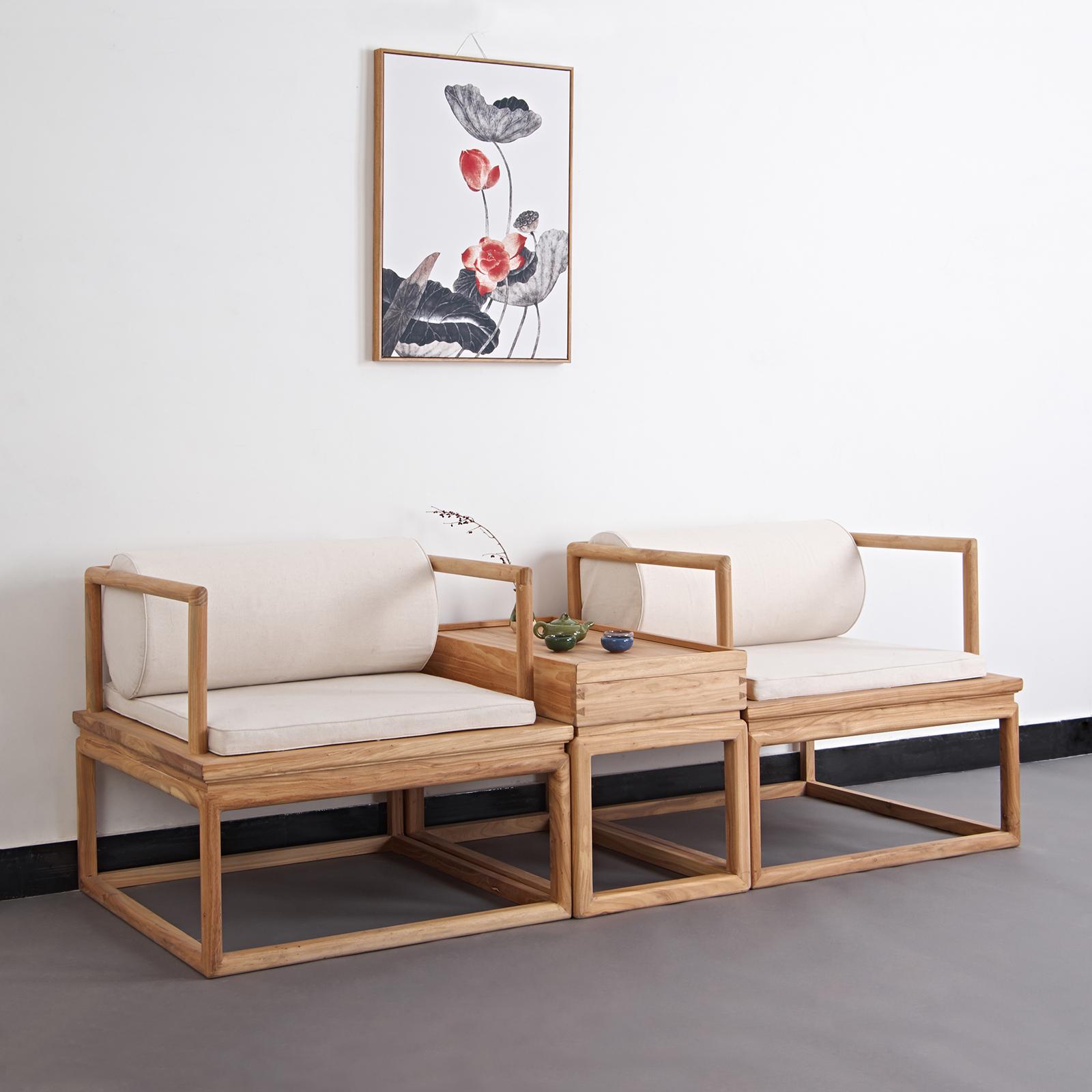 新中式实木沙发组合现代简约禅意客厅老榆木原木色茶楼民宿家具