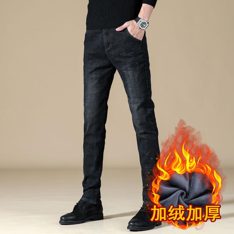 冬跑量加绒牛仔裤男士修身弹力休闲男裤子韩版青年长裤JR816-P55