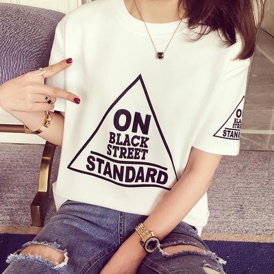 819#2016夏装新款韩范时尚三角形字母短袖T恤