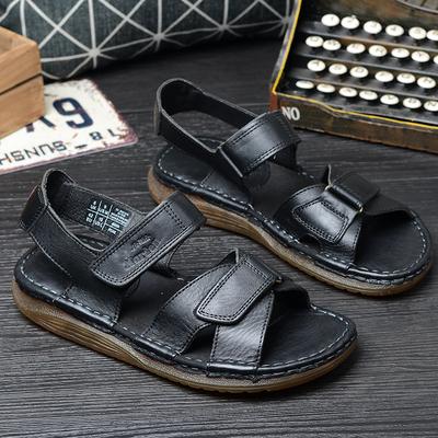 夏季新款真皮凉鞋男休闲露趾沙滩鞋手工防滑厚底牛筋底大码凉鞋潮