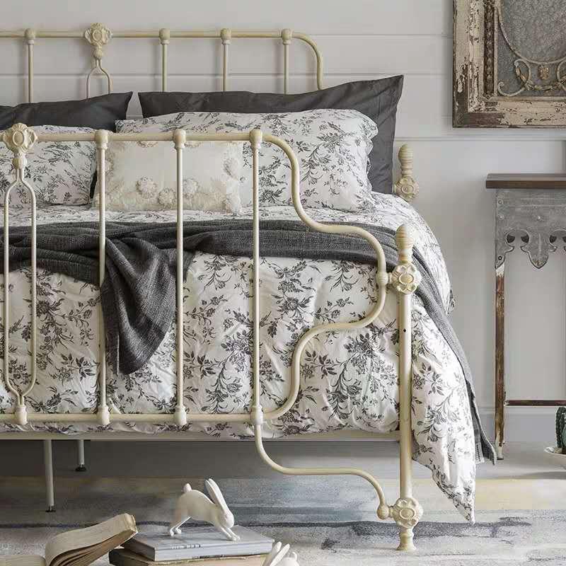可立特床铁艺复古简约美法式单人米白做旧金属1.5米1.8双人公主床