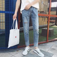 男士简约纯色破洞牛仔裤九分裤 B238-7012-P68(售价不低于78)