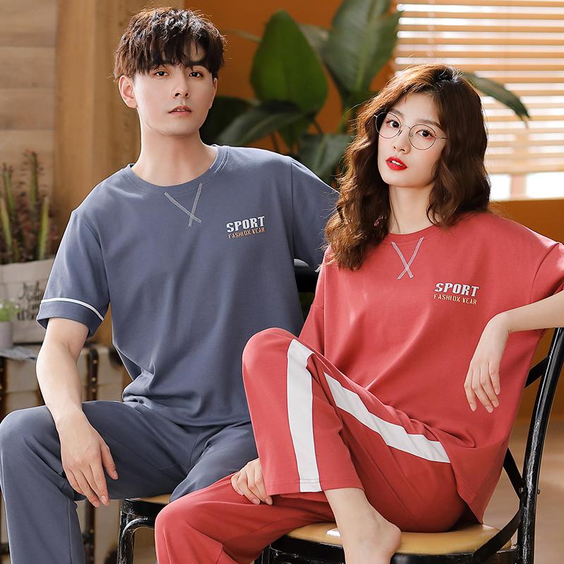 【依梦美】夏季新款情侣睡衣双面精梳棉短袖长裤可外穿韩版家居服