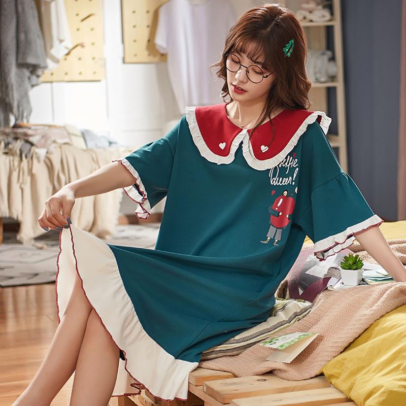 依梦美~夏季新款短袖睡裙甜美少女纯棉睡衣女家居服可外穿M-3XL