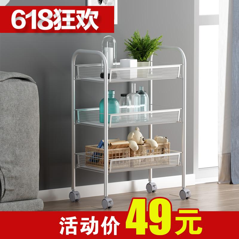 厨房收纳置物架可移动小手推车带轮多层落地整理浴室卧室储物架子