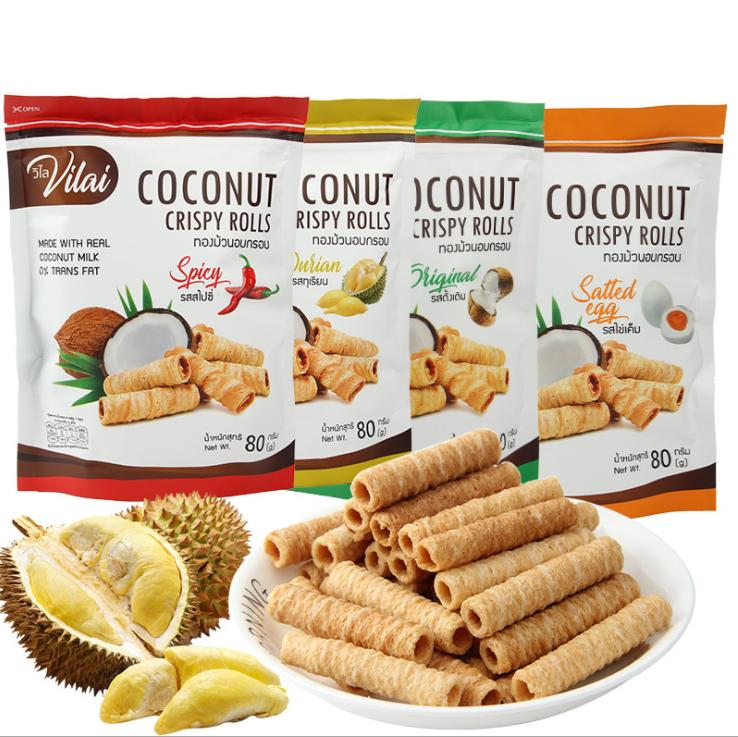 泰国进口 唯来椰子卷80g 椰子酥蛋卷 咸蛋黄榴莲味糕点休闲零食品