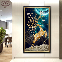 Entrance porch decorative painting corridor vertical engraving fresco modern simple living room American light luxury hanging painting European deer