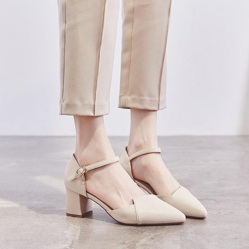 2020流行女鞋新款凉鞋 夏季百搭潮鞋 时尚女鞋2020新款 时髦中跟