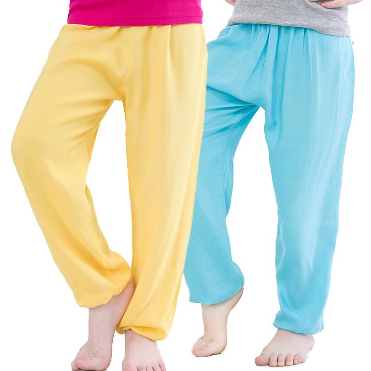 夏薄款男女童人造棉防蚊長褲寬鬆小中童純棉燈籠褲兒童棉綢闊腿褲