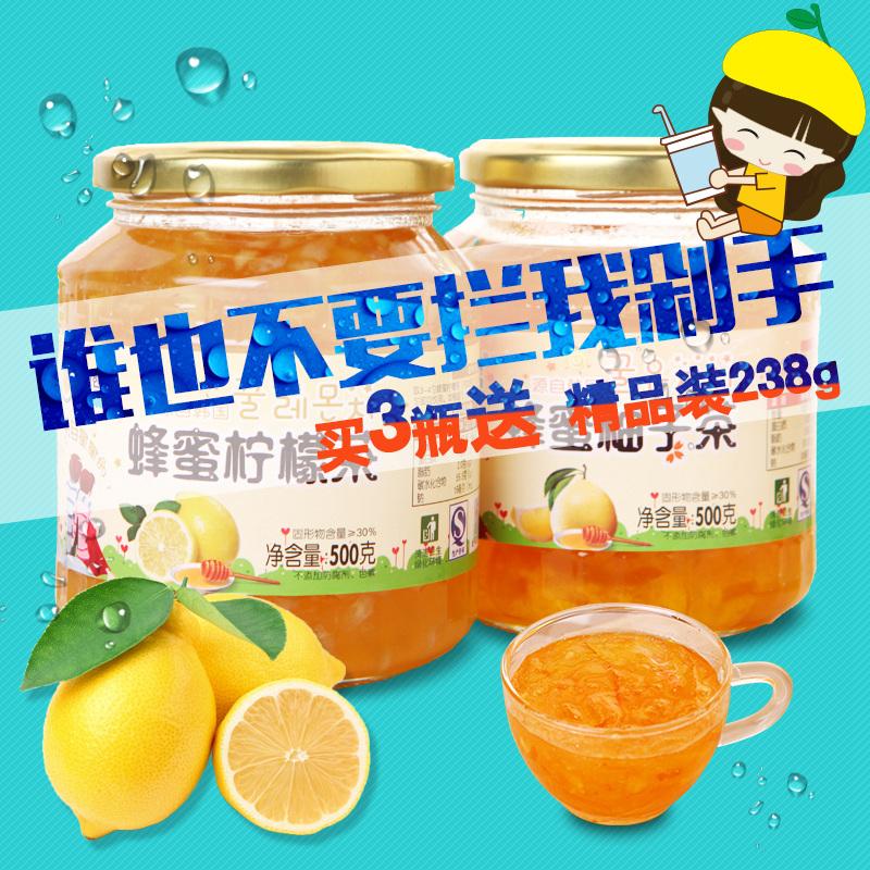 東大韓金蜂蜜柚子茶500g 檸檬茶500g 水果茶韓國風味衝飲品 包郵