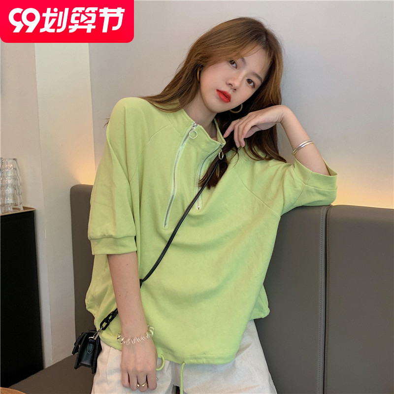 6535 cotton light mature wind thin solid color 7 / 4 sleeve Sweatshirt summer net red small high neck T-shirt for women