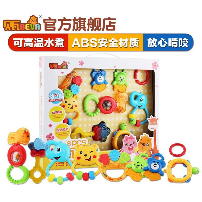 貝瓦牙膠手搖鈴早教嬰兒3~6~12月寶寶1歲啟蒙幼兒益智玩具