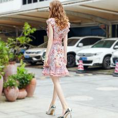 欧美高端2020春夏新款海边度假印花蕾丝拼接无袖背心雪纺连衣裙女