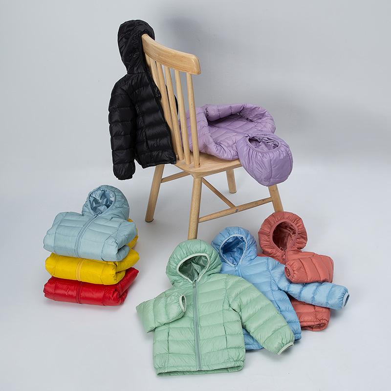 新款儿童羽绒服男童女童轻薄轻薄宝宝白鸭绒糖果色洋气外套外套潮
