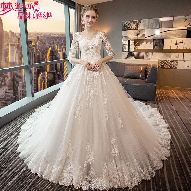 婚纱礼服一字肩V领显瘦公主梦幻大码齐地2018新款大拖尾婚纱森系