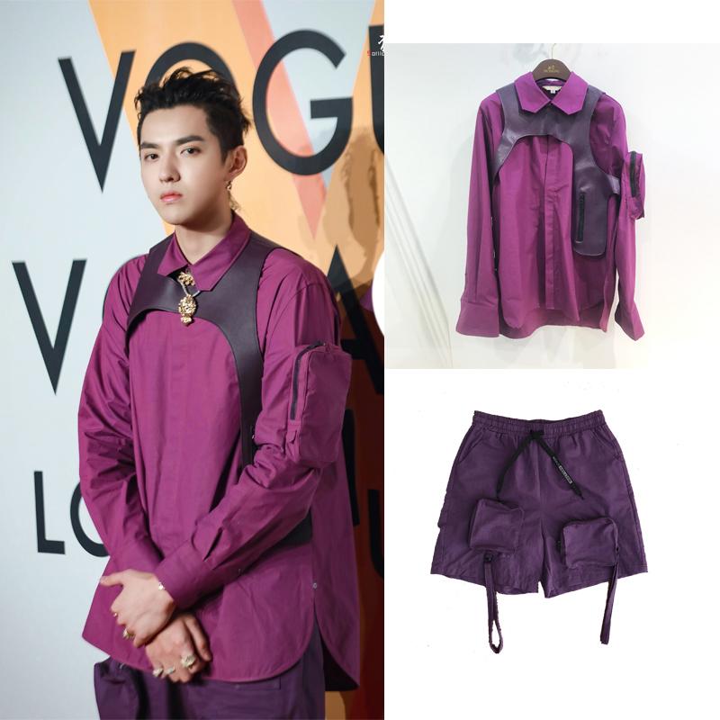 吴亦凡跨年演唱会同款紫色衬衫个性口袋PU皮坎肩马甲两件套男女潮图片