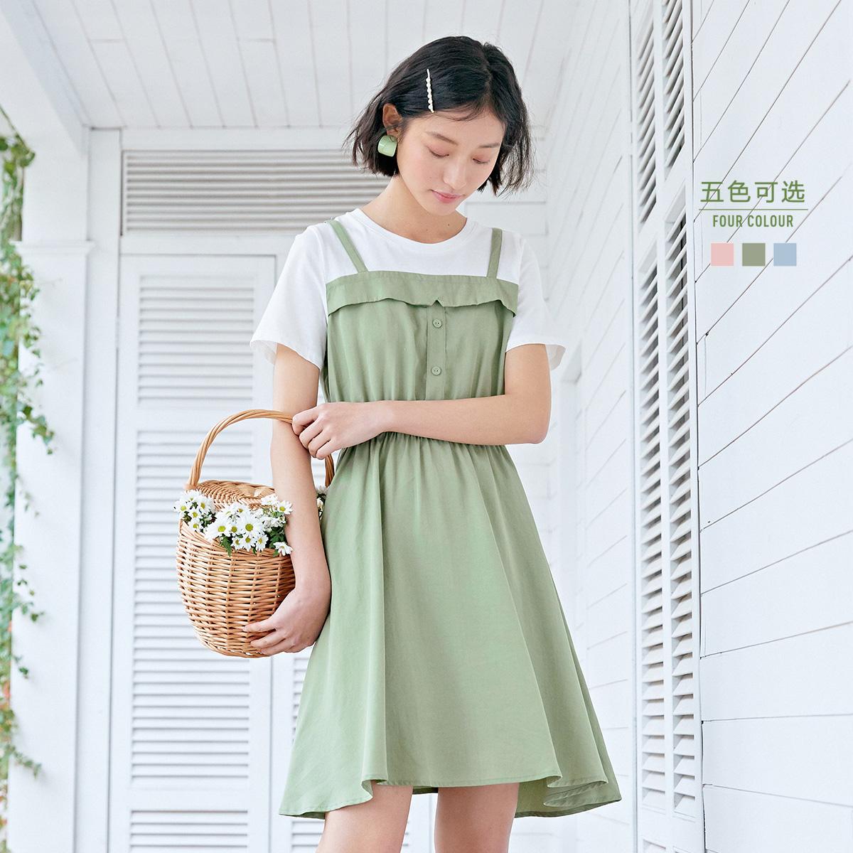 森马2020夏新款学院风白色休闲裙子