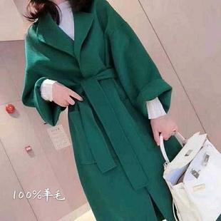 反季2020新款韩版双面羊绒大衣女中长款纯手工羊毛赫本风毛呢外套