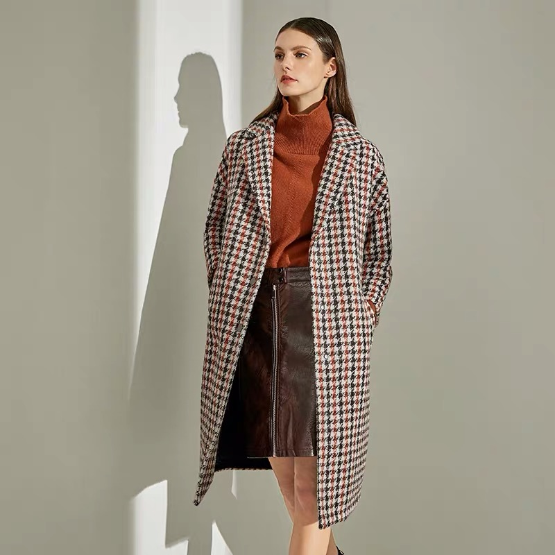 Plaid double-sided cashmere coat womens new medium length Mohair loose thin wool woolen coat winter