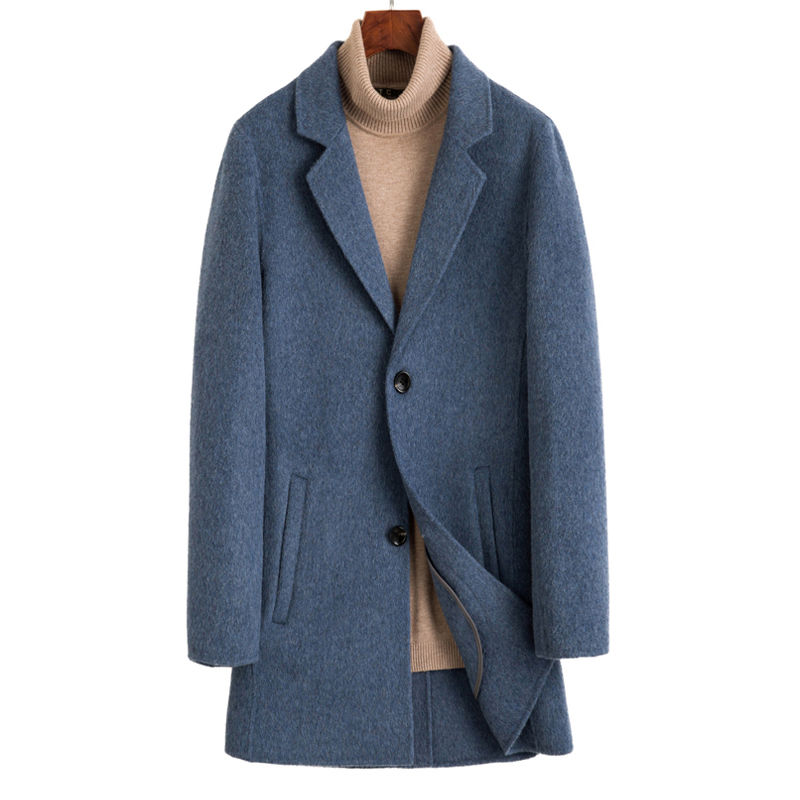 Mens autumn and winter double cashmere coat mens Woolen double face wool overcoat