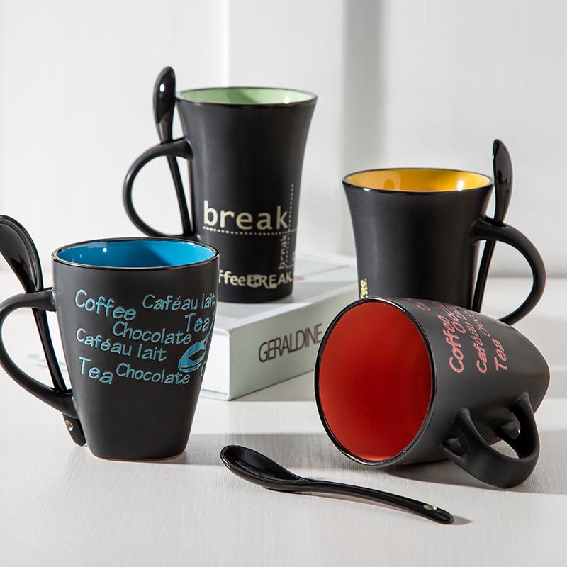 欧式复古咖啡杯水杯陶瓷马克杯带勺早餐杯牛奶杯家用办公室茶杯子12月10日最新优惠