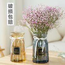还不晚欧式玻璃花瓶透明彩色水培植物花瓶客厅装饰摆件插花瓶