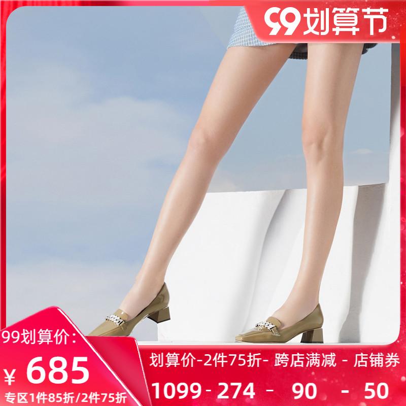Roberta诺贝达女鞋21春新款水钻饰扣粗跟单鞋通勤乐福鞋RS17223