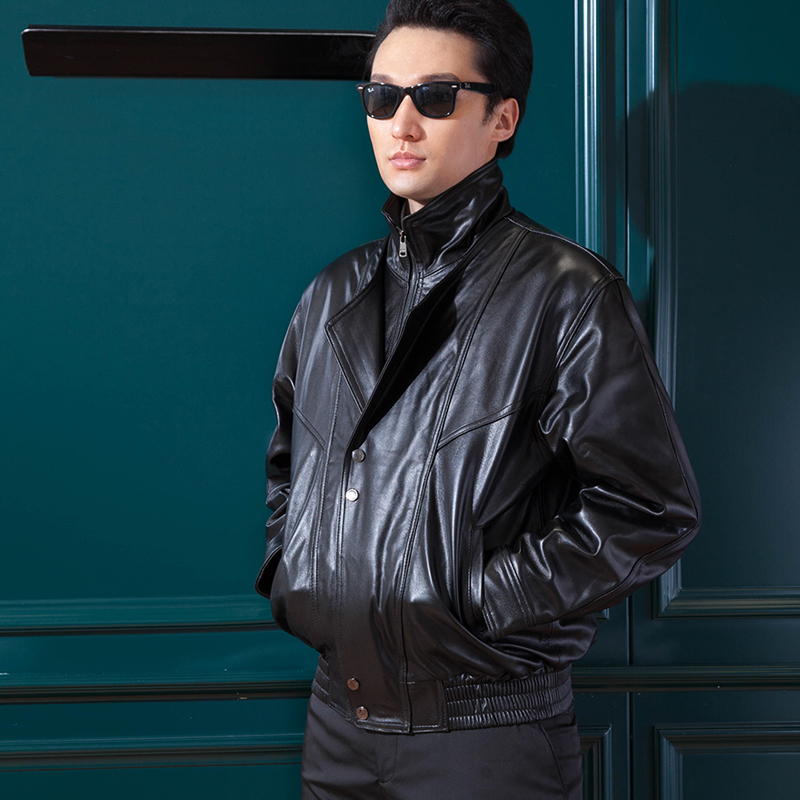 Leather jacket for male pilot leather jacket for male air force leather jacket for autumn and winter motorcycle and cotton leather jacket