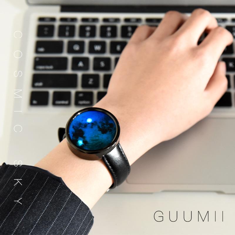 GUUMII新款正品创意时尚概念LED设计师月球星球无指针手表电子表