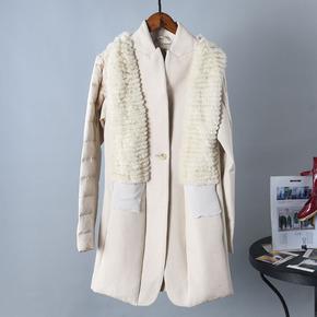 品牌折扣撤柜去标江南风情秋季正品新中长款兔毛拼接羊毛棉大衣女
